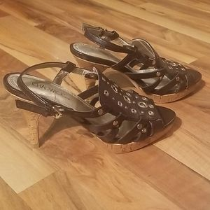 Chadwicks Shoes - Chadwicks Dark Brown Open Toe Heels Size 8